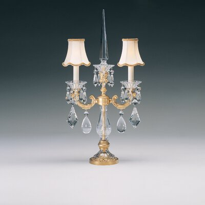 Schonbek La Scala Two Light Table Lamp in Parchment Gold