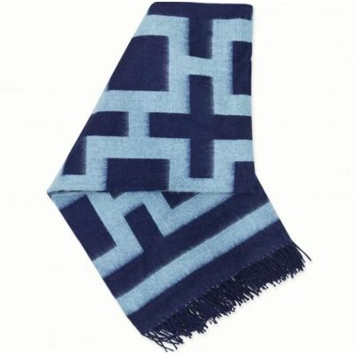 Jonathan Adler Richard  Nixon Alpaca Throw -Navy and Light Blue