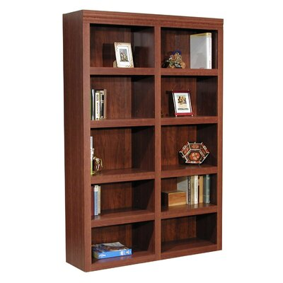 "Rush Furniture Charles Harris 72"" H Double Bookcase in Dark Cherry"