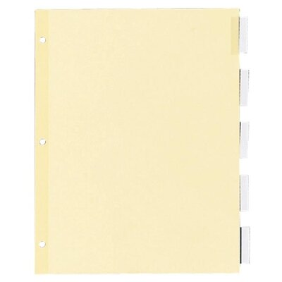 "Kleer-Fax, Inc. Recy Insert Ring Book Indexes, 5 Tab, 11""x8-1/2"", Clear"