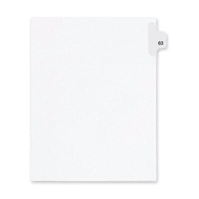 Kleer-Fax, Inc. Index Dividers,Number 63,Side Tab,1/25 Cut,Letter,25/PK,WE