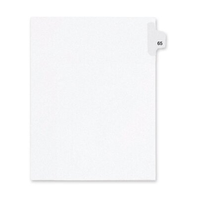Kleer-Fax, Inc. Index Dividers,Number 65,Side Tab,1/25 Cut,Letter,25/PK,WE