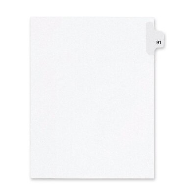 Kleer-Fax, Inc. Index Dividers,Number 91,Side Tab,1/25 Cut,Letter,25/PK,WE