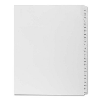 "Kleer-Fax, Inc. Index Dividers,""Exhibit 201-225"",Side Tabs,1/25 Cut,25/PK,WE"