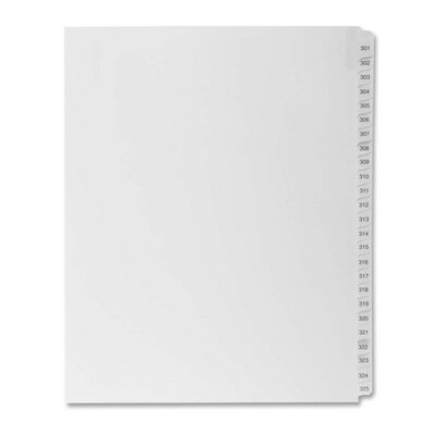 "Kleer-Fax, Inc. Index Dividers,""Exhibit 301-325"",Side Tabs,1/25 Cut,25/PK,WE"
