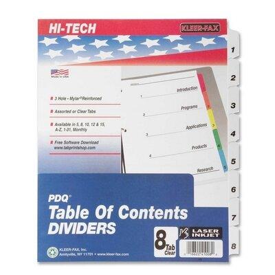 "Kleer-Fax, Inc. Index Dividers, 1-8 Tabs, 3HP, 11""x8-1/2"", Black/White"