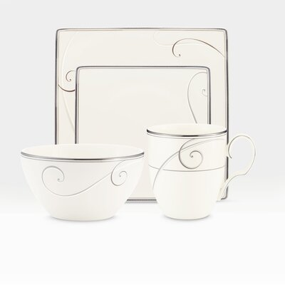 Platinum Wave Square 4 Piece Place Setting