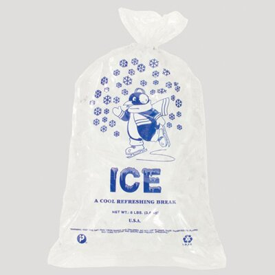 Inteplast Group 8 Pound Ice Bag, 1.50 Mil in Clear / Blue