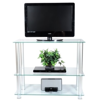 "RTA Home And Office Extra Tall Glass and Aluminum 42"" TV Stand"