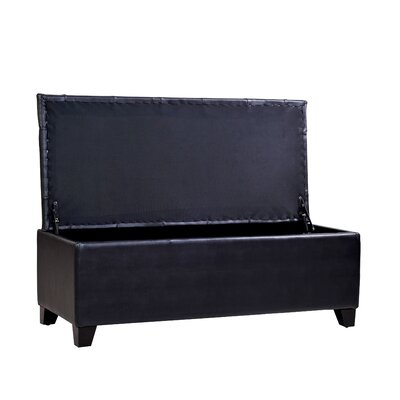Handy Living Tufted Bench Renu Leather Storage Ottoman