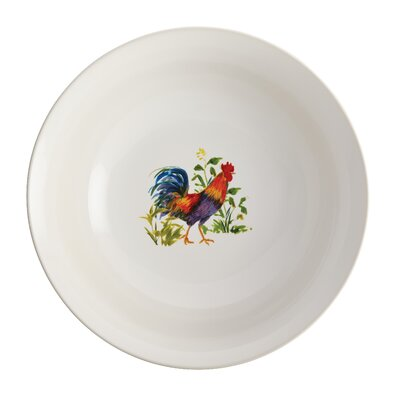 "BonJour Meadow Rooster Stoneware 10"" Round Serving Bowl"