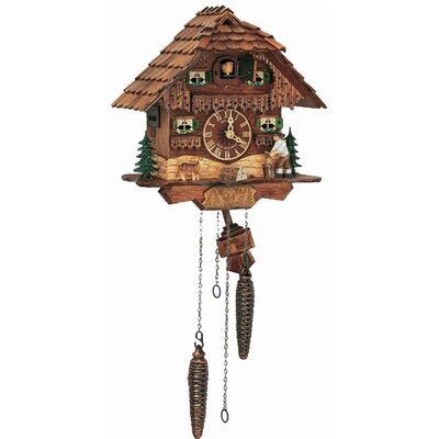 "Schneider 10"" Musical Quartz Chalet Cuckoo Clock with Woodchopper"