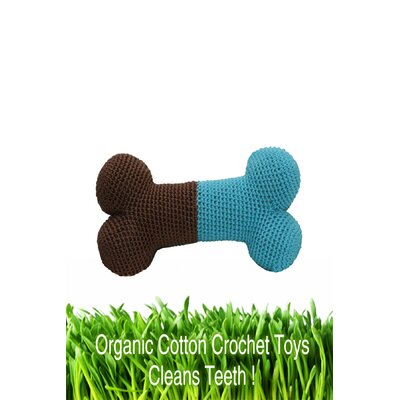 Hip Doggie Organic Cotton Crochet Bone and Ball Dog Toy Set in Blue