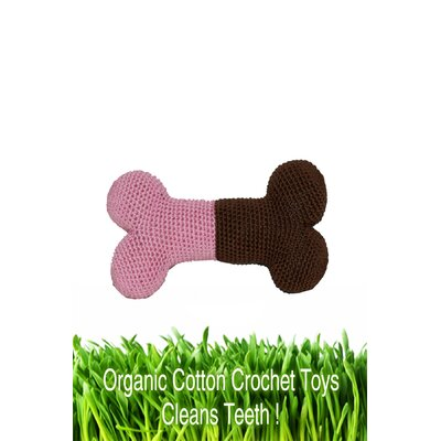 Hip Doggie Organic Cotton Crochet Bone and Ball Dog Toy Set in Pink