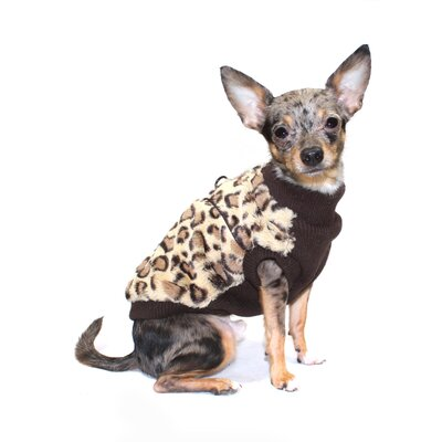 Cheetah Mink Dog Sweater Vest in Brown