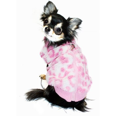 Cheetah Mink Dog Sweater Vest in Pink
