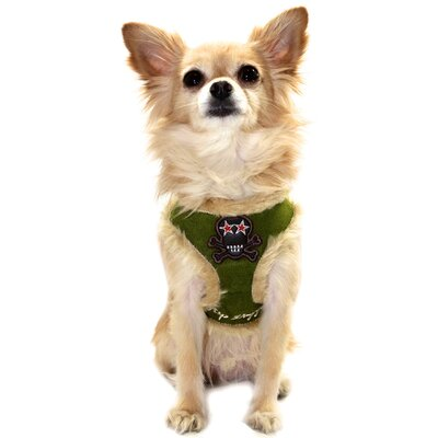 Fur Skull Dog Harness Vest in Olive