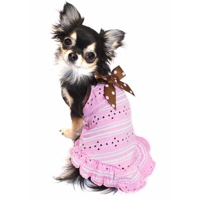 Eyelet Dog Dress in Pink