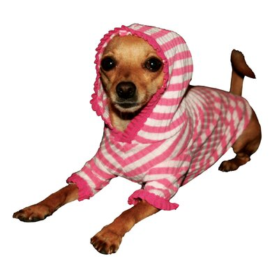 Stripe Cherry Dog Hoodie in Pink