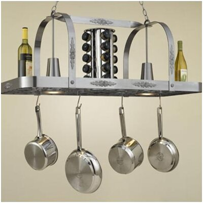 Hi-Lite Monterey Rectangular Hanging Pot Rack with 2 Lights