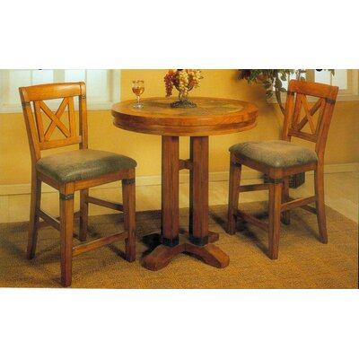 Alpine Furniture Santa Fe 3 Piece Bar Table Set in Caramel Oak