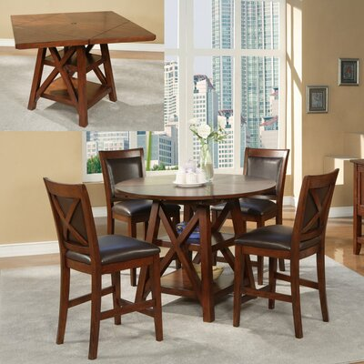 Alpine Furniture Oberlin Round to Square Pub Table in Medium Brown