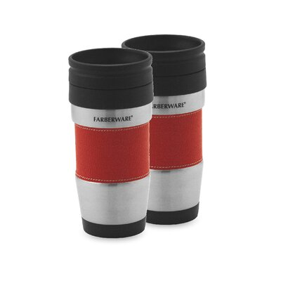 Farberware Stainless Steel Travel Mug without Handle in Red (Set of 2)