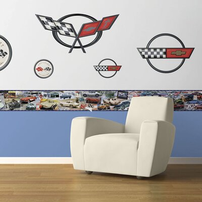 4 Walls History of the Corvette Free Style Wallpaper Border