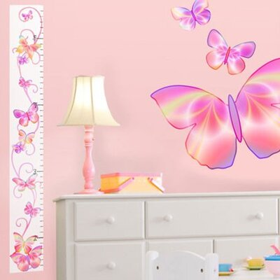 4 Walls Fluttering Butterfly Peel and Stick Growth Chart