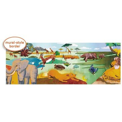 4 Walls Panoramic Mural Style Safari Mural Wallpaper Border