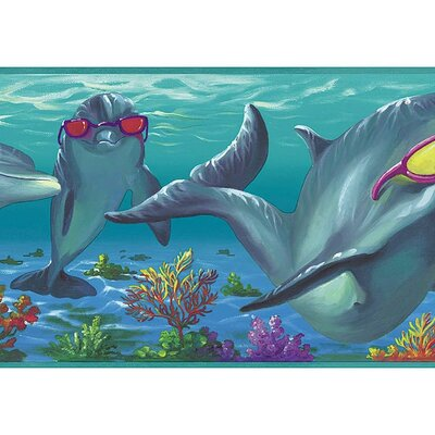 4 Walls Whimsical Children's Vol. 1 Dolphins Border in Aqua