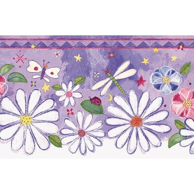 4 Walls Whimsical Children's Vol. 1 Groovy Flower Die-Cut Border in Purple