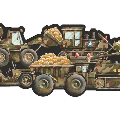 4 Walls Whimsical Children's Vol. 1 Camouflage Truck Border in Black