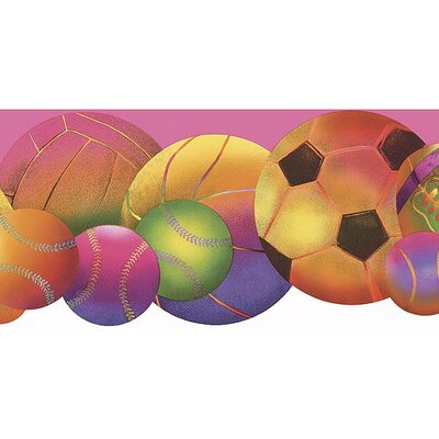 4 Walls Whimsical Children's Vol. 1 Neon Sports Balls Die-Cut Border in Pink