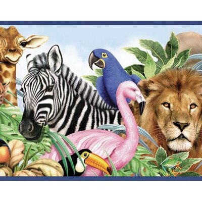 4 Walls Jungle Animals Free Style Border Wallpaper in Multi