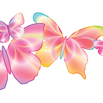 4 Walls Fluttering Butterflies Free Style Wallpaper in Pink