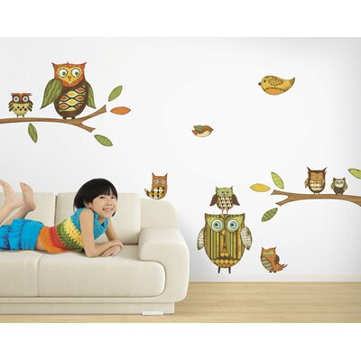4 Walls Owls Freestyle Peel and Stick Decal in Orange