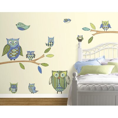 4 Walls Owls Freestyle Peel and Stick Decal in Blue