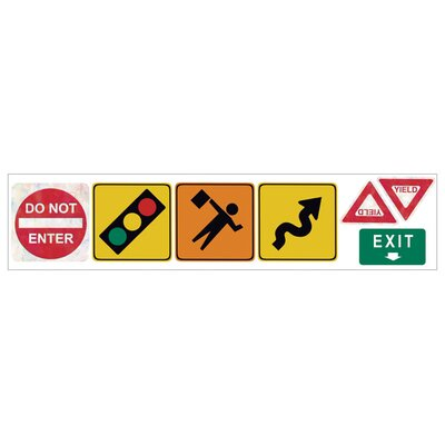 4 Walls Traffic Signs Freestyle Peel and Stick Decal ( Set 2) in Bright