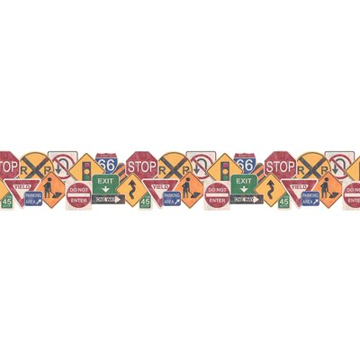 4 Walls Whimsical Children's Vol. 1 Road Sign Border in Hunter