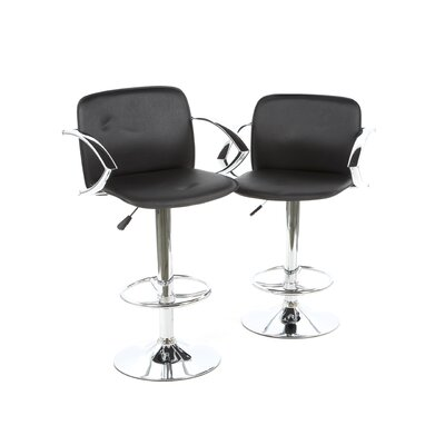 Buffalo Tools Pad Bar Stool with Back in Black (Set of 2)