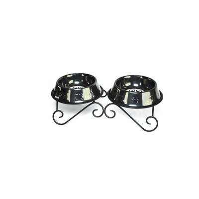 Platinum Pets Double Diner Dog Stand with 2 Bowls in Black