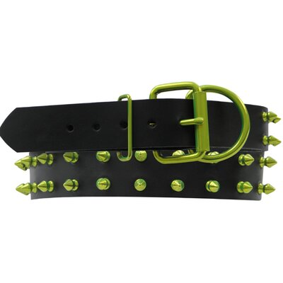 Medium / Large Genuine Leather Dog Collar Lime with Spikes