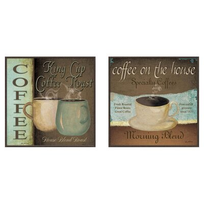 Kitchen Coffee Label 2 Piece Framed Vintage Advertisement Set
