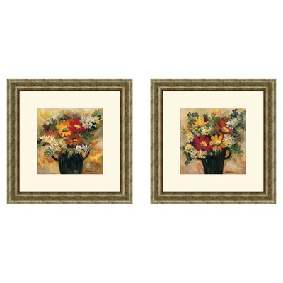 Floral Daisy Dynamic 2 Piece Framed Painting Print Set
