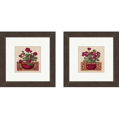 Floral Geraniums 2 Piece Framed Graphic Art Set