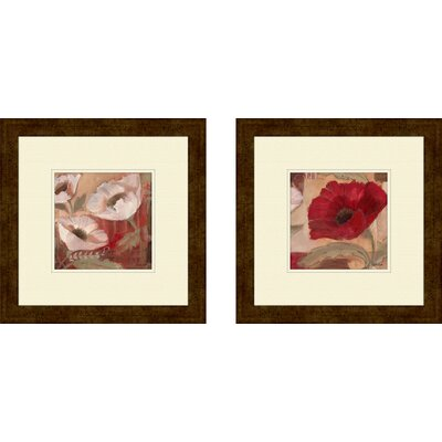 Pro Tour Memorabilia Floral Amapola Blanca Framed Art (Set of 2)