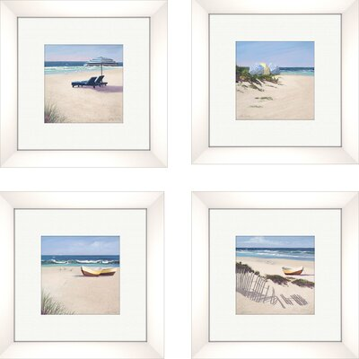 Coastal Beach Umbrella Framed Art (Set of 4)
