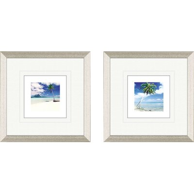 Coastal Palm Tree Beach 2 Piece Framed Painting Print Set