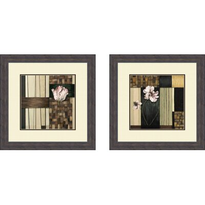 Pro Tour Memorabilia Contemporary Pink Blossoms Framed Art (Set of 2)